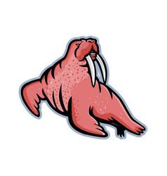 Long-tusked walrus mascot vector