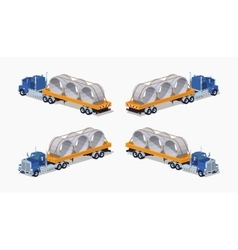 Low poly blue heavy truck and yellow trailer with vector image