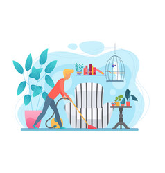 man doing household chores flat vector image