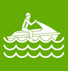 man on jet ski rides icon green vector image vector image