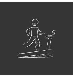 Man running on treadmill Drawn in chalk icon vector