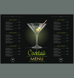 Martini glass cocktail menu vector