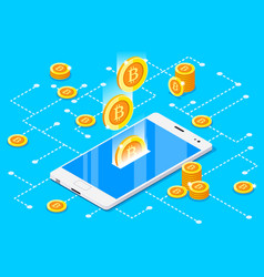 monetary business with bitcoin vector image