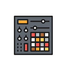 music console audio mixer flat color line icon vector image