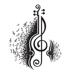 musical notes and violin vector image