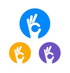 ok hand sign finger logo hand symbol vector image