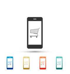 online shopping sign shopping cart on smartphone vector image