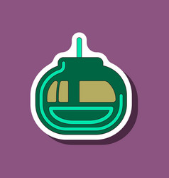 paper sticker on stylish background cabin ski lift vector image