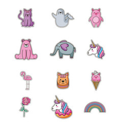 Patches sticker cute vector