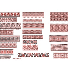 Patterns for Embroidery Stitch Red and Black vector