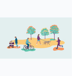 People walk in park abstract vector