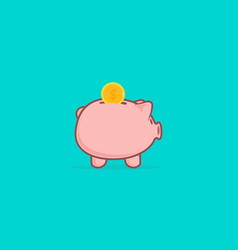 piggy bank in a flat style bank with coin vector image