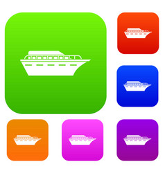 Powerboat set collection vector