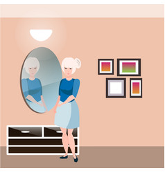 Pretty girl with mirror vector