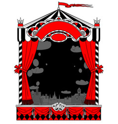 Puppet show booth with theater masks curtain vector