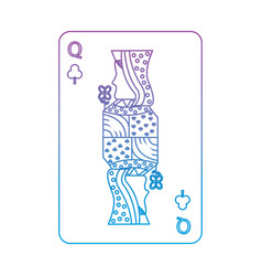 Queen of clover or clubs french playing cards vector
