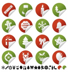 red and green Christmas stickers vector image