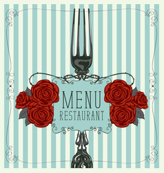 restaurant menu with fork and red roses vector image