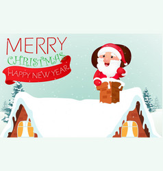 santa claus with reindeer coming to house vector image