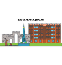 Saudi arabia jeddah city skyline architecture vector