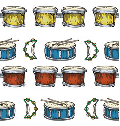 Seamless pattern drums bongos and tambourines vector