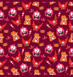 seamless pattern with cute color monsters vector image