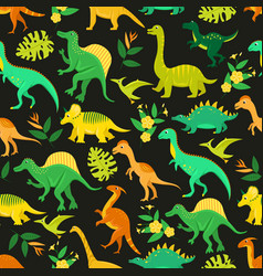 Seamless pattern with flat cartoon dinosaurs vector
