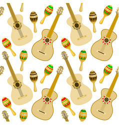 seamless pattern with guitar and maracas vector image