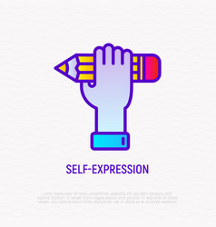 Self-expression thin line icon hand holding vector