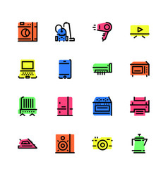 set icons household appliances in flat style vector image