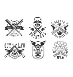 Set of emblems related to criminal theme vector