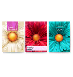 Set of spring covers with text design and bud vector
