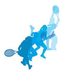 set women playing tennis vector image