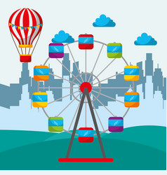 silhouette of a city and amusement circus ferris vector image