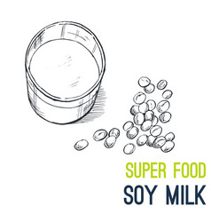 Soy milk super food hand drawn sketch vector
