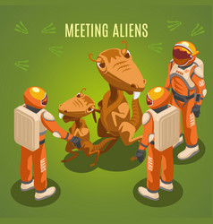 Space exploration meeting aliens composition vector