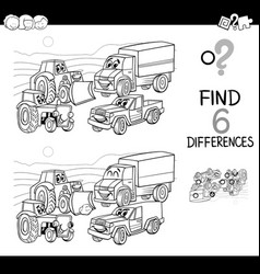 Spot difference with cars coloring book vector