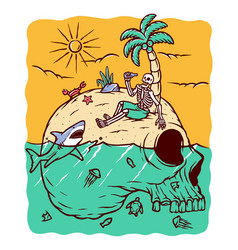 stuck on a mystery island vector image