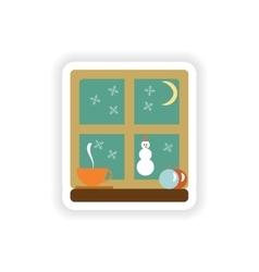 Stylish paper sticker on white background Window vector