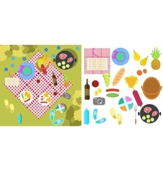 Summer picnic nature landscape with blanket and vector