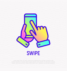 swipe hand on mobile phone thin line icon vector image