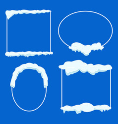 Thin lined frame collection with snow on blue vector