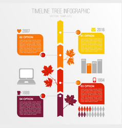 Timeline tree infographics template Autumn fall vector