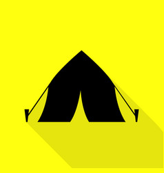 tourist tent sign black icon with flat style vector image