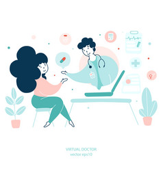 virtual doctor remote medical consultations flat vector image