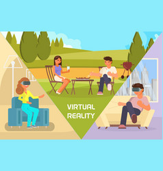 virtual reality date flat vector image