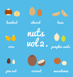 Vol 2 nuts and seeds icon set vector