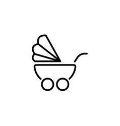 Web line icon baby carriage black on white vector