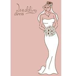 Wedding card with bride vector