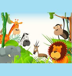 wild animals postcard background vector image